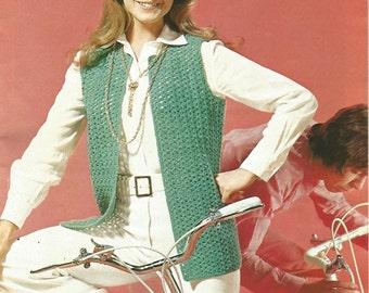 Crochet Vest Womans Slip on Jacket Instant Download 3/4 length/OhhhMama/ round neck open front vintage pattern instant download pdf