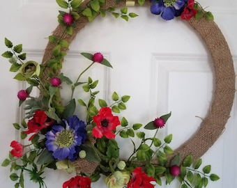 Spring burlap wreath,Spring wreath,Summer wreath,front door decor,wall art,front door wreath,spring wreaths for front door,vintage,wreath