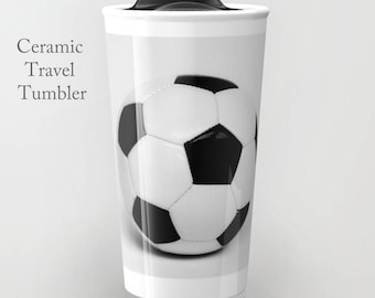 Soccer Tumbler-Travel Mug-Ceramic Tumbler-12 oz Tumbler-Soccer Coffee Tumbler-Insulated Travel Mug-Grad Gift-Coffee Tumbler-Coach Gift
