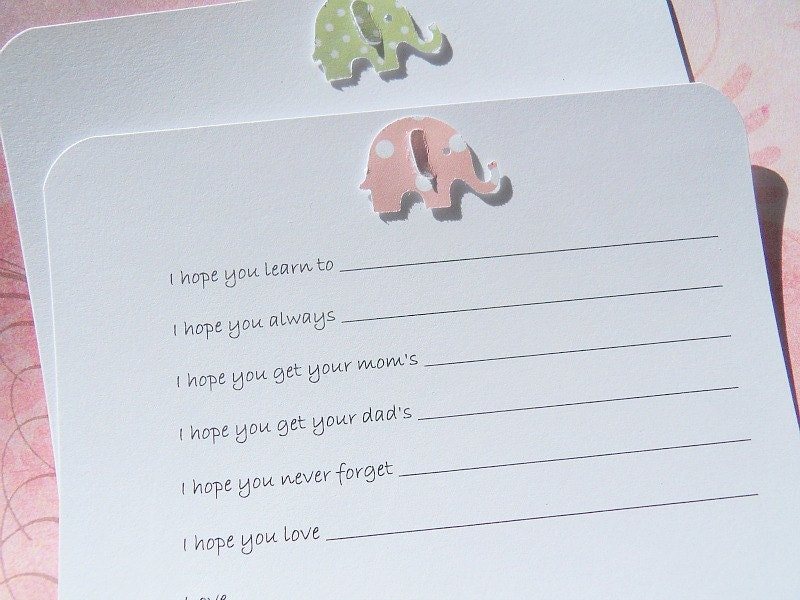 Wishes For Baby Showers ~ Baby shower games baby shower wish cards elephant wish