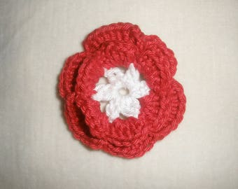 Flower crochet and red and white