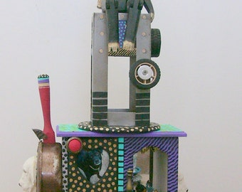 Its Ruff Out There   recycled found object sculpture