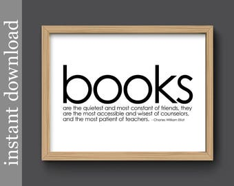 Quote about Books, printable book quote, library decor, bibliophile gift, book love, book gift, book decor, book wall art, book art download