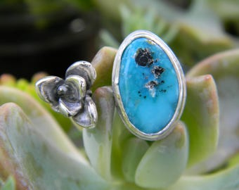Whitewater Turquoise with Pyrite and Silver Succulent Ring - Adjustable Size 7-9.5