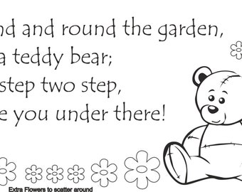 Round and Round The Garden Nursery Rhyme Wall Decal, Extra Flowers Included, Ideal For Nursery,Bedroom or playroom
