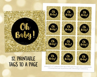 Printable Oh Baby! Stickers Black Gold Confetti Baby Shower Instant Digital Download