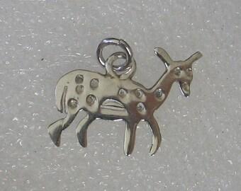 SALE Vintage Sterling Silver Primitive Deer Fawn Charm 20mm