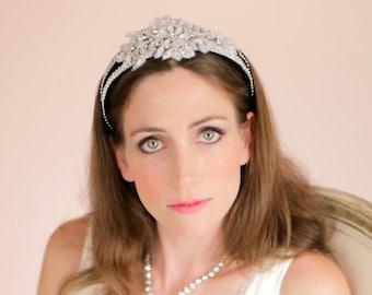Tiara Crown, Tiara Headband, Hair Accessories, Beaded Wedding Tiara, Bridal Headpiece, Style No. 4104