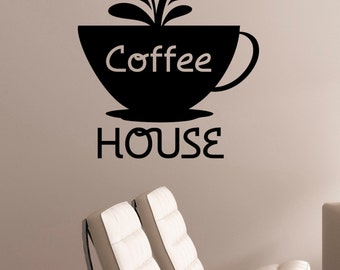 Coffee Bar Sign Decal Window Vinyl Sticker Modern Cafe Logo Art Decorations for Coffee Shop House Dinning Room Kitchen Wall Decor cff5