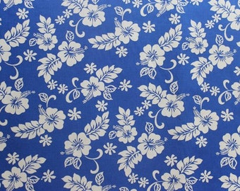 Classic Blue and Whit Hawaiian Print Cotton  (Yardage Available)