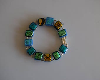 Fused Dichroic Glass Link Bracelet In Shades Of Blue, Green and Gold  12 Links