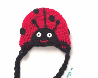crochet lady bird beanie, lady bug beanie, baby hat, baby gift, photo prop