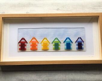 Fused Glass, Beach Huts, Rainbow Glass, Nautical, Beach Theme, Beach Art, Rainbow, Glass Art, Beach Hut Art, Fused Glass Art, Seaside Art