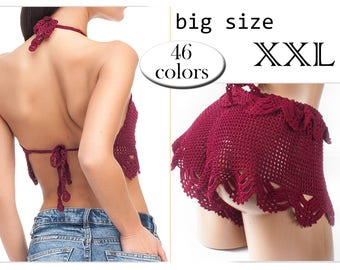 Crochet bikini XXL, women's swimwear Big Size, Summer trends, choice color