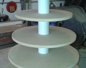 6 Tier Round Custom Made Unfinished Cupcake Stand with Thicker Tiers.  Holds up to 115 Cupcakes.
