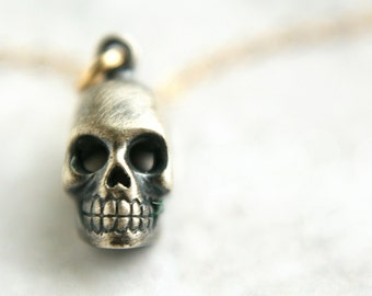 silver skull necklace, spirited skull charm, skull oxidized sterling silver 14kt gold filled chain skull necklace