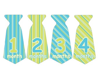12 Pre-cut Monthly Baby Milestone Waterproof Glossy Stickers - Neck Tie Shape - Design T008-01
