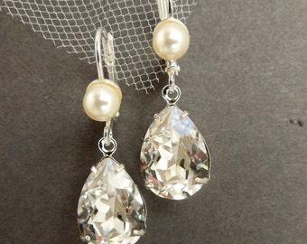 pearl bridal Earrings, Bridal Rhinestone Earrings, Statement Bridal Earrings, Swarovski Crystal earrings, teardrop wedding Earrings, ARIA