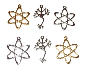 Geek Charms - Atom Atomic Symbol and Brain Neuron Pendants Silver and Gold Tone Science Nerd Jewelry Making Craft Charms