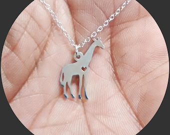 Giraffe Necklace - Engrave Pendant - Sterling Silver Jewelry - Gold Jewelry - Rose Gold Jewelry - Personalized Pet Jewelry - Animal Charm