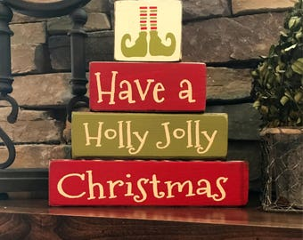 """Christmas """"CHUNKY"""" stacker--Have a holly jolly Christmas"""