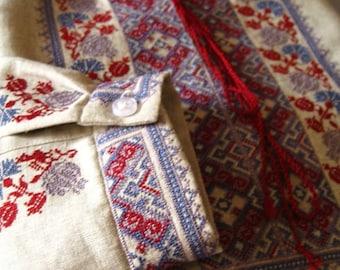 "Men's vyshyvanka Ukrainian shirt shirts with Long sleeves Shirt for adult men vyshyvanka ""Ethnic"" of 100% linen"
