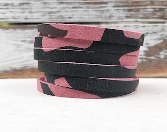 Leather Bangle Bracelet - Pink Camo