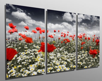 Metal Print - Poppies in a field - 3 Panel split (Triptych) - Metal wall art on HD aluminum prints for home, office decor & interior design.