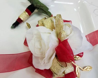 Red White Gold Prom Corsage Set Wrist Corsage with Matching Boutonniere Artificial Flowers. Ready To Ship