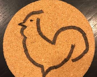 Rooster Coaster/ Custom Coaster/ Wood Burn/ Animal/ Kitchen/ Chicken Coaster