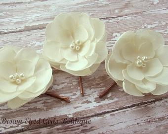 Cream Bridal Flower Hair Clip Trio,  Cream Bridal Head Piece Trio