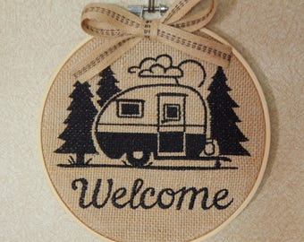 Camper Welcome -  Burlap Camping Welcome - Camper Welcome - Burlap Camper Decor - Camping Welcome - RV Decor - Travel Trailer Decor