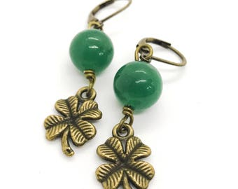 Shamrock earrings - green aventurine earrings - green drop earrings - four leaf clover earrings - semi precious stones