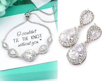 Wedding Earrings Bracelet Platinum plated Zirconia Earrings Bridesmaid Earrings Teardrop Bridal Jewelry Bridesmaid Bracelet Bridesmaid Gift