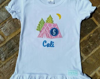 """Girl's camping themed appliquéd """"Tent"""" shirt with embroidered name and birthday number"""