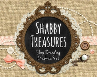 Chalkboard Pearls Shop Branding Banners, Avatar Icons, Business Card, Logo Label + More - 13 Premade Graphics Files - SHABBY TREASURES