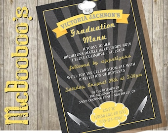 Culinary Degree Graduation Menu Party Invitation for the New Chef