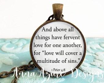 Christian Jewelry Christian necklace scripture jewelry scripture necklace 1 Peter 4:8 - Scripture Quote Necklace Bronze Pendant Jewelry