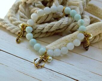 Women's Nautical SemiPrecious Beaded Charm Bracelet - Jewels of the Sea