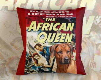 Rhodesian Ridgeback Art Pillow Case Throw Pillow - The African Queen Movie Poster  Perfect DOG LOVER Gift for Her Gift for Him