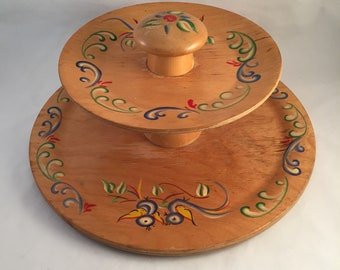 2 Tier Genuine Woodcroftery Wood Tray, Serving Tray, Double Serving Tray, Hand Painted Wood Tray, Display or Centerpiece Entertaining Tray