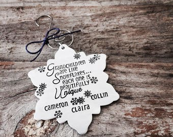 Grandparents snowflake Ornament Aluminum Hand Stamped Snowflake Christmas Ornament, Personalized Ornament, Snowflake