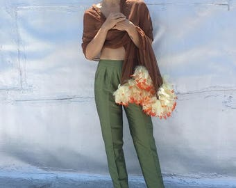 Vintage 90s Raw Silk Olive Green Trousers