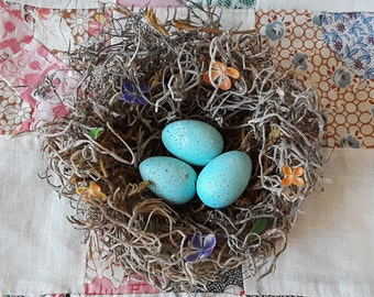 Birds nest with Robin eggs, Easter egg, Robin eggs, decor nest, craft nest, rustic, shabby chic charm