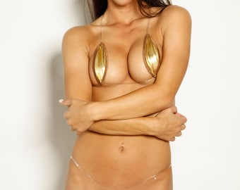 Bitsy's Bikinis Single Tie Teardrop Bikini - Solid Gold Foil with Brown Trim and Clear Strap String
