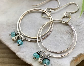 Apatite Earrings, Sterling Silver Blue Gemstone Circle Earrings, Silver Dangle Earrings, Boho Chic Jewelry, Unique Gift for Her