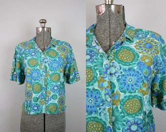 1960s Blue and Green Floral Blouse / Size Large