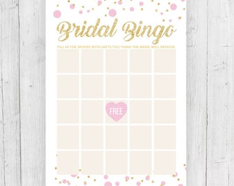 Printable Shower Bingo Game (Pink and Gold Confetti). Instant Download.