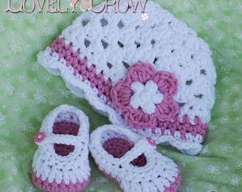 Chunky Yarn Crochet Pattern for Bullky Baby Button Maryjanes, and Bulky Princess Flower Beanie Hat digital