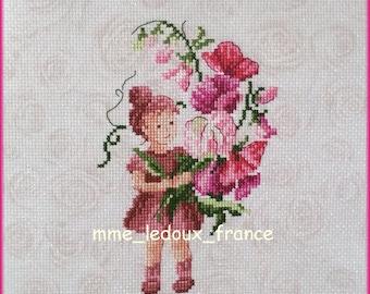 "Pastel embroidery cross stitch ""Hollyhocks"" - v pattern"